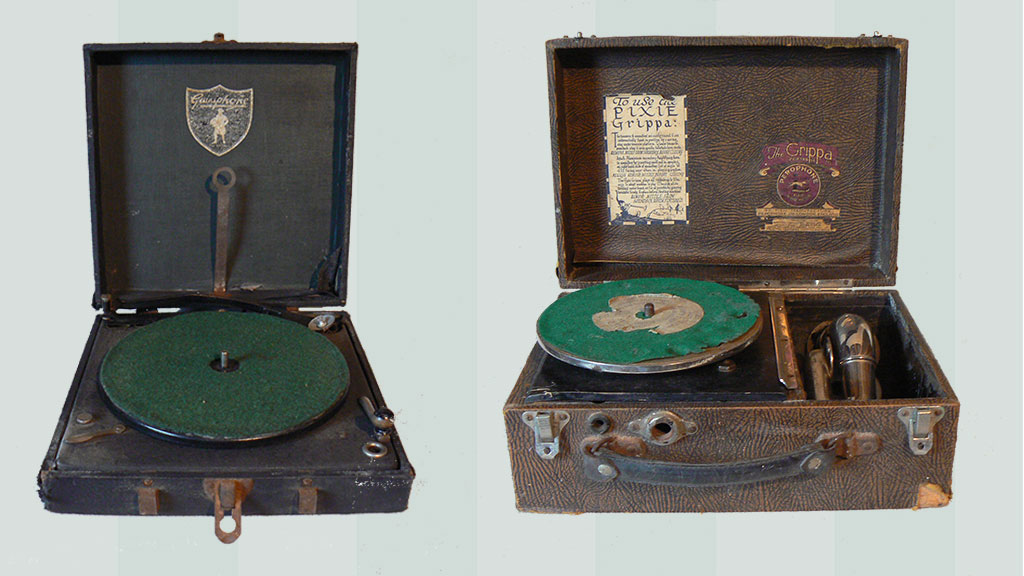 'Guineaphone novelty gramophone - 1930s and 'Pixie Grippa' Miniature Gramophone also 1930s.
